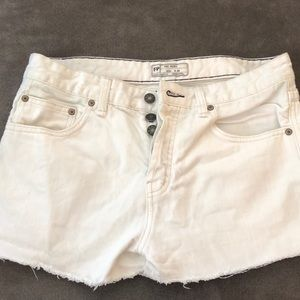 Free people white jean shorts, size 29